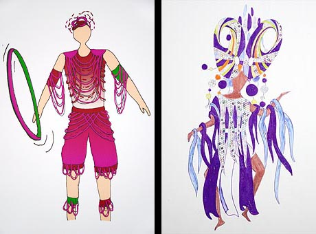 Two graphic designs for dancer's costumes: one in purple, blue and white, the other in in red, pink and green