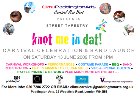 Flyer advertising 'knot me in dat!' carnival celebration and band launch, 2009