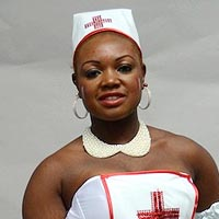 Marie-Laure wearing the costume of a nurse