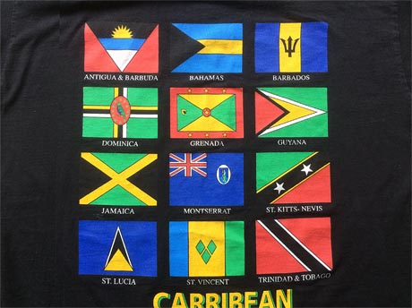 Banner showing the twelve flags of the countries of the Caribbean