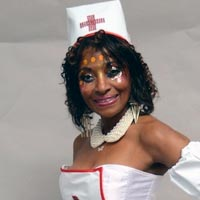 Veronica wearing the costume of a nurse