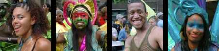 Photographs of dancers from Elimu Carnival Band at Notting Hill Carnival