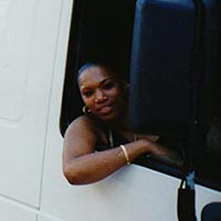 Eldora driving the sound system truck at Notting Hill Carnival