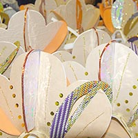 Varity of white headdresses with colourful, sparkling and shining details
