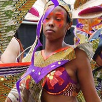 Group of Elimu members in exotic outfits just before their performance.