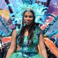 Woman with a blue and green dress and headdress. She got a huge construction out of various blue and purple flags on her back.
