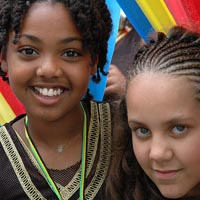 Photo of two young girls in Elimu Mas Band at Notting Hill Carnival