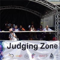 Photograph showing the judging zone of the notting hill carnival.