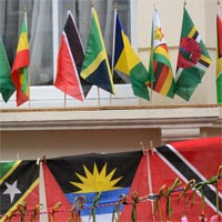 A photograph of ensigns of various countries.