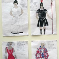 Drawings of the various costumes, such as roman outfits or a nurse one, and how they should look like at the end.