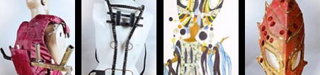 Photographs of 4 items of carnival equipment used by Elimu Carnival Band at Notting Hill Carnival. They are: a backpack, a metal support frame, costume design drawing and a carnival mask.