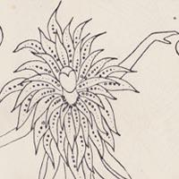 A line drawing that depicts a dancing figure wearing a costume with streamers radiating from the collar.