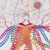 A costume design that depicts a costumed figure, with multi-coloured streamers flowing down from the shoulders and patterned kite-like constructions floating upwards.