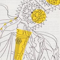 Line drawing highlighted with yellow ink depicting two figures with yellow kites flying above them.