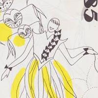 Detail from the invitation to join Elimu for the 1985 Carnival showing a line drawing of a figure wearing a costume with yellow streamers from the waist.