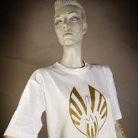 Photo of Elimu T-Shirt on a mannequin. The T-Shirt is white and has a golden bird logo on the front.