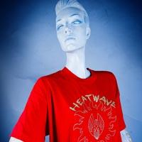 "Photo of Elimu T-shirt on a mannequin. The T-shirt is red and has a waving logo entitled ""Heartwave Not Crimewave"" on the front."