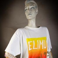 "Photo of Elimu T-Shirt on a mannequin. The T-Shirt is white and has a yellow to orange ""Carneval 95 logo on the front."