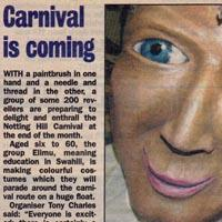 A press-cutting about the group Elimu preparing for the carnival. Including a photograph of a child and a big carnival mask.