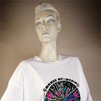 "Photo of Elimu T-Shirt on a mannequin. The T-Shirt is white with a design including a figure and has a ""Nanse Ntontan"" logo on the front."