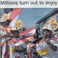 Press cutting about the Notting Hill Carnival, including two pictures.