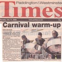 Newspaper cutting about ELIMU Paddington Arts' carnival showcase and band launch offering workshops in creative fields.