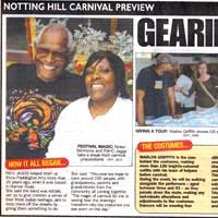 Press-Cutting about the preperartions for the Carnival, the roots of Elimu Carnival Group and the creation of the costumes. Two photos are included of the preperation are included.