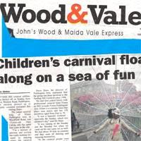 Newspaper cutting in Wood & Vale about children's day at Notting Hill Carnival.