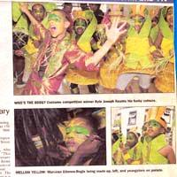 Newspaper cutting about children taking part in Notting Hill Carnival on its 50th anniversary.