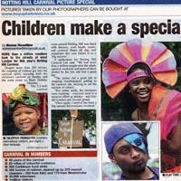 Newspaper cutting about Notting Hill Carnival's big success for everyone involved.