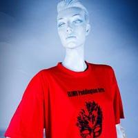 "Photo of Elimu T-shirt on a mannequin. The T-shirt is red and has a black drawing and a ""Ah Red Ting"" logo on the front."