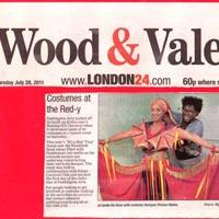 "Newspaper cutting about the costume making for Notting Hill Carnival's theme ""It's a Red 'Ting"" in 2011."