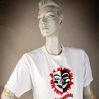 "Photo of Elimu T-shirt on a mannequin. The T-shirt is white and has a red, white and black mask and a ""Shanghai 2013"" logo on the front."