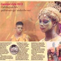 """Newspaper cutting about Paddington Arts' participation at Notting Hill Carnival with the slogan """"under the sea"""" dressed as jellyfish or octopuses."""