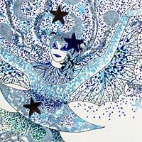 design of drawing in blue and white of woman dancing in layered costume and large headdress all patterened with stars