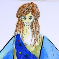 design of drawing of girl wearing blue cloak with yellow, green and red polka dots