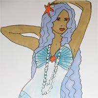 design drawing of woman wearing long blue skirt and blue top with blue long hair and starfish headdress