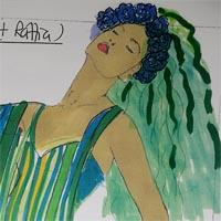 design drawing of woman wearing dress formed by blue, green and yellow ribbons with flowers in her green hair and wearing green shoes