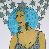 design drawing of woman with blue hair wearing silver bikini and a skirt formed by lines of stars supended from the waist and star backpack