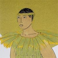 design drawing of man in a a gold costume with big collar wearing a hairband and with a circle-shaped backpack