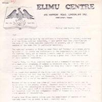 Letter from the Elimu Centre on the 4th of March, 1983