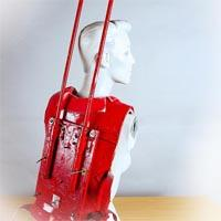 Red gleaming backpack.