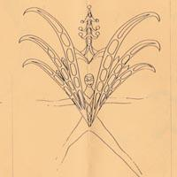 Line drawing that depicts a figure with an elaborate winged costume.