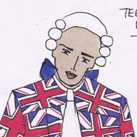 design drawing of boy wearing a union jack coat, blue short trousers, white wig with a blue bow, a white cravat and carrying a book