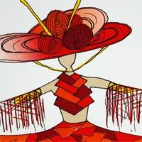 design drawing of woman wearing geometric shaped top, red wide skirt and big headdress
