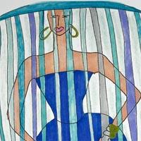design drawing of woman in blue dress with blue and grey headdress