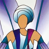 design drawing of man with blue turban wearing big blue wings backpack
