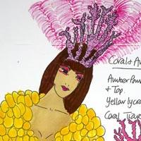 design drawing of woman wearing amber pompom top and skirt, yellow lycra shorts and coral tiara