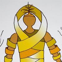 design drawing of man wearing yellow geometric fringe bottom and yellow sash top