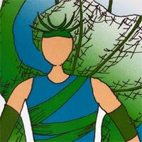 design drawing of man wearing green bottom and blue top with green band and green and blue backpack